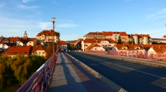 Traffic in the evening in Maribor Stock Footage