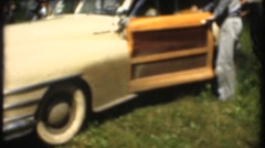 Vintage family Woody car with white wall tires - stock footage