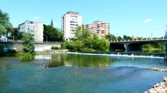 The River Crisul Repede flowing through Oradea Stock Footage