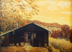 wooden cabin in a forest in the mountains, painting sepia effect, retro effect - stock illustration