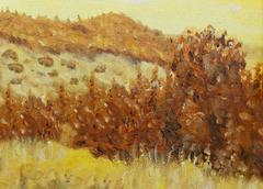 Beautiful Original Oil Painting Landscape and tree On Canvas. Sepia color Stock Illustration