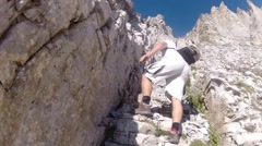 Climbing expedition mountainering on Olymp mountain in Greece Stock Footage