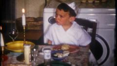 Jewish family dinner celebration at home, 2801 vintage film home movie Stock Footage