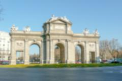 Defocused background of Alcal Gate in Madrid, Spain. Intentionally blurred po Stock Photos