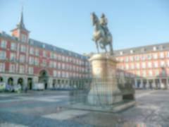 Defocused background of Plaza Mayor in Madrid, Spain. Intentionally blurred p Stock Photos