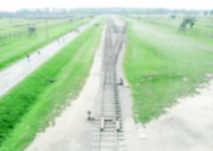 Defocused background of the Nazi Concentration Camp in Auschwitz-Birkenau, Po - stock photo