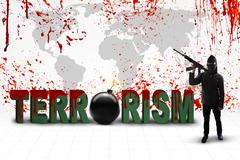 Jihadist with terrorism text and bloody map - stock photo
