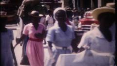 2799 - busy Panama City market, people, chickens - vintage film home movie Stock Footage