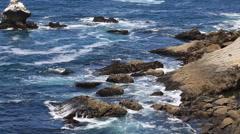 Rocky coast California waves splash Stock Footage