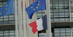 European Union Flags and France flag Stock Footage