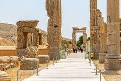 Persepolis old stone gates - stock photo