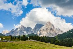 famous pass in the Alpes Passo di Rolle, old ancient Pass in the dolomite Alp - stock photo