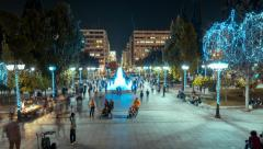 4K 25p Syntagma/Parliament sq motion control night pan timelapse,Christmas Stock Footage