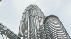4k skyscraper kuala lumpur petronas towers business centre tall malaysia tilt Stock Footage