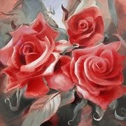 Red roses hand painted on canvas Stock Illustration