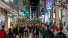 Shoppers on Ermou commercial street in Monastiraki,Athens,night timelapse 25p Stock Footage