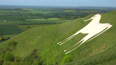 A giant white horse is a landmark in Westbury, England. Stock Footage