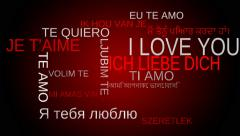 I love you multilingual tag word cloud - red background. Loop able - stock footage