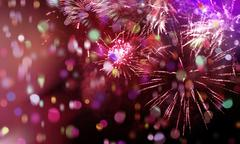 Stock Illustration of bright sparkling multicolor fireworks and confetti