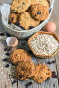 Cookies from oatmeal and raisins. - stock photo