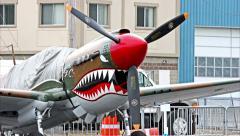 4K loop, Airshow Warbird P-40 Warhawk Stock Footage
