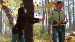 Happy Couple Enjoying Golden Autumn Fall Season Stock Footage
