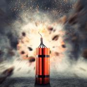 Dynamite exploding - stock photo