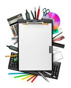 Clipboard and stationery Stock Photos