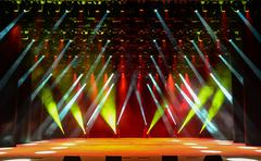 Concert stage with illumination - stock photo