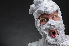 Bizarre surprised man - stock photo