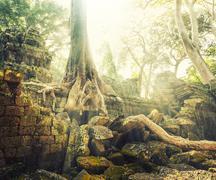 Temple in Angkor Thom, Cambodia - stock photo