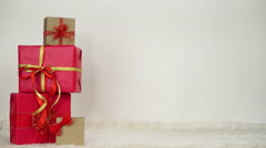 Woman in high heels taking present gift 4K. Stock Footage
