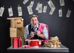 Businessman is laundering money - stock photo