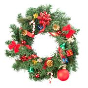Christmas wreath with ornaments - stock photo