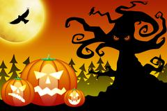 Halloween pumpkins in scary forest - stock illustration