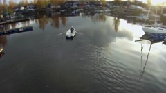 Camera flying  over the rowing boat Arkistovideo