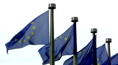 European flags outside the EU commision in Brussels, Belgium Stock Footage