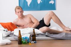 Difficult morning after a party - stock photo