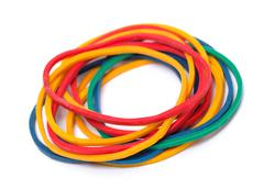 multicolor rubber money bands - stock photo