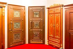 Classic interior and front wooden doors - stock photo