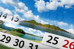 Calendar  with beautiful  landscape Stock Illustration