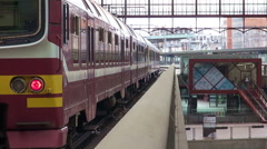 Stationary Train At Antwerpen Train Station Stock Footage