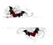two banner with vampire heart - stock illustration