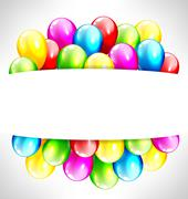 Multicolored inflatable balloons with frame on grayscale - stock illustration