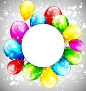 Multicolored inflatable balloons with circle frame on grayscale - stock illustration