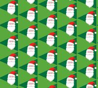 Seamless Christmas Pattern with Santa on Green Stock Illustration