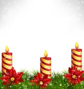 Candles with pine and poinsettia on grayscale Stock Illustration