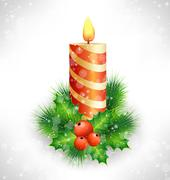 Stock Illustration of Christmas candle with holly and pine on grayscale