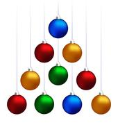 Christmas balls hanging like fir tree - stock illustration