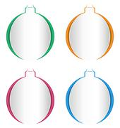 Christmas balls cutout on different backgrounds on white - stock illustration